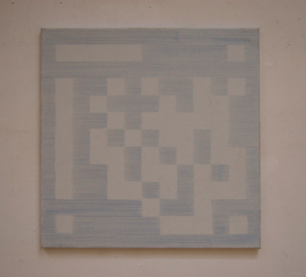 EZ -Klaas Op De Beéck- Blue pencil on canvas small
